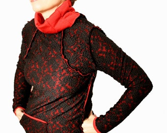 Black sweater, winter sweater, layered, lace sweater, black and red top, SOFT sweater with front pockets,original sweater, black jumper