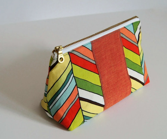 Zipper Pouch Colorful Modern Cosmetic Bag Case: Bold Chevron Zipper Pouch - Ready to ship