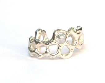 Honeycomb Ring - Sterling Silver Honeycomb Band Ring