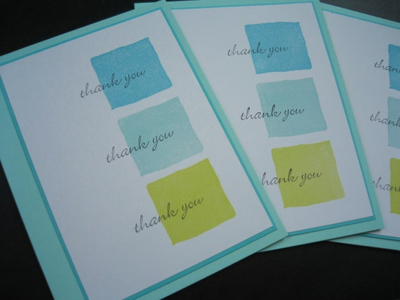 Handmade Thank You Card Set of 5 Aqua