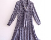 Romantic1940's inspired Shirt Dress Scarf-collared crepe dress