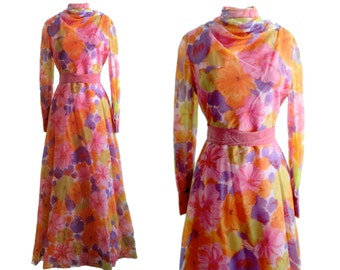 Vintage 1970s Psychedelic Floral Full Length Gown
