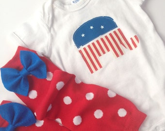republican elephant one piece with red and white polka dot baby leg warmers with blue bow