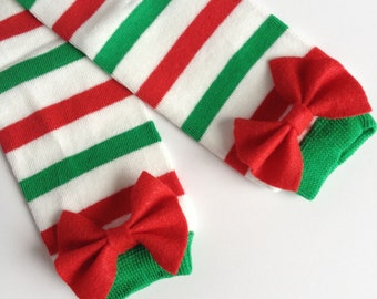 Christmas Green and Red striped baby leg warmers with Green or Red Felt Bow