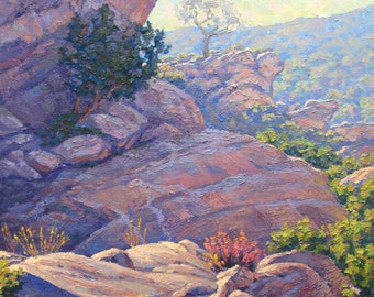 Landscape Painting of Vasquez Rocks Park in California by Elena Roché