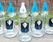 Wedding party glasses, wine glasses and beer glasses.  Bridesmaids and Groomsman gifts.  Ice blue dress and tux glasses. 1 glass