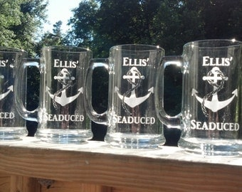 1 Etched beer mugs with anchor, Gift for Groomsman, best man beer glasses, sand blasted, engraved for sailboat or camp