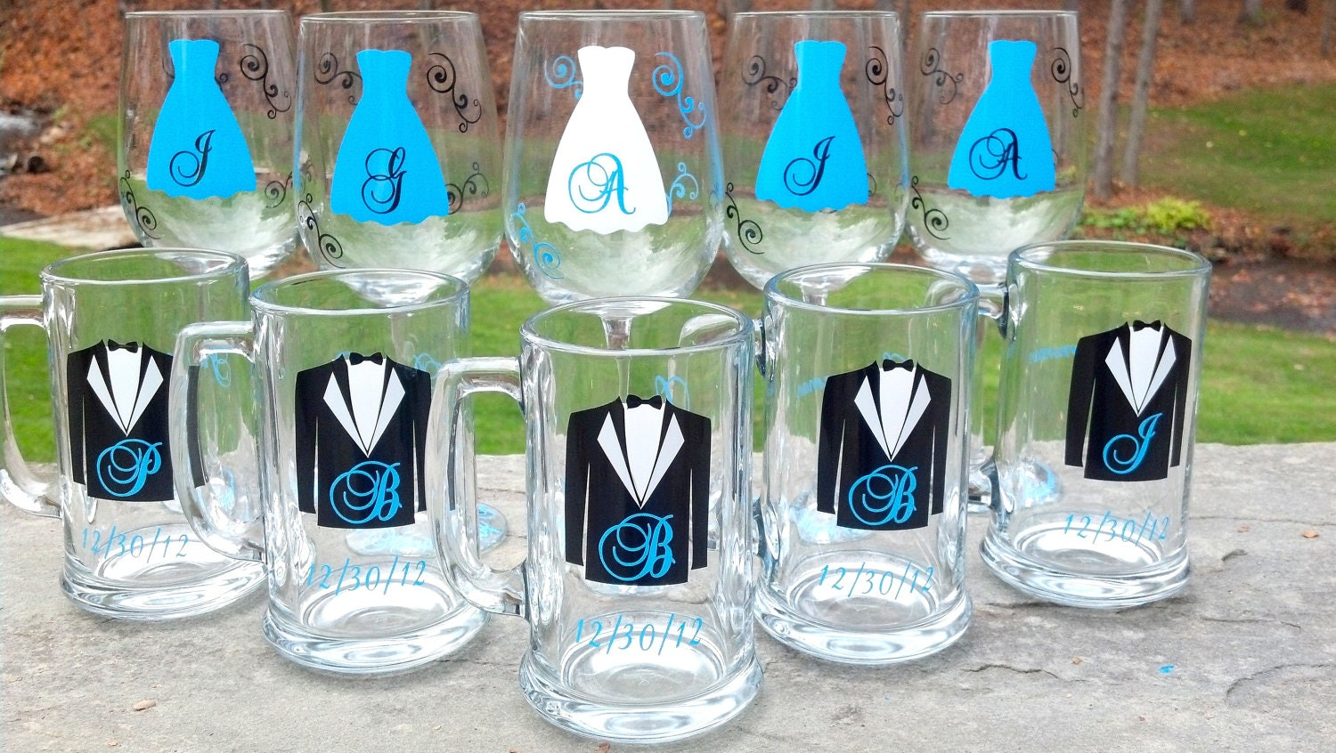 Wedding party glasses wine glasses and beer glasses.