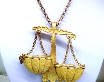 Unique Libra Vintage RAZZA Signed Runway Art Nouveau Gold & Carved Bone Scales Necklace