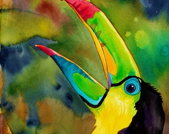Transcendant Toucan Print (Psychedelic Watercolor of Colorful Exotic Bird Singing in Jungle)