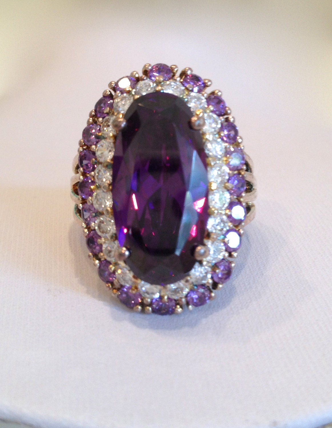 Vintage Amethyst And Diamond Estate Jewelry Ring