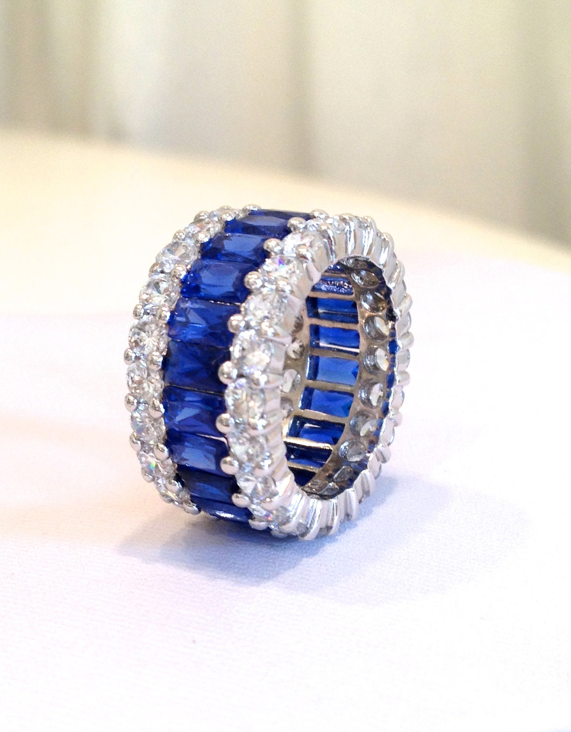 Vintage Sterling Silver Sapphire Three Row Eternity Band Ring