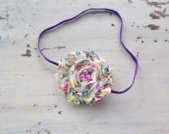Shabby Rose Headband- newborn photo prop, babies, girls, women, vintage, shabby chic