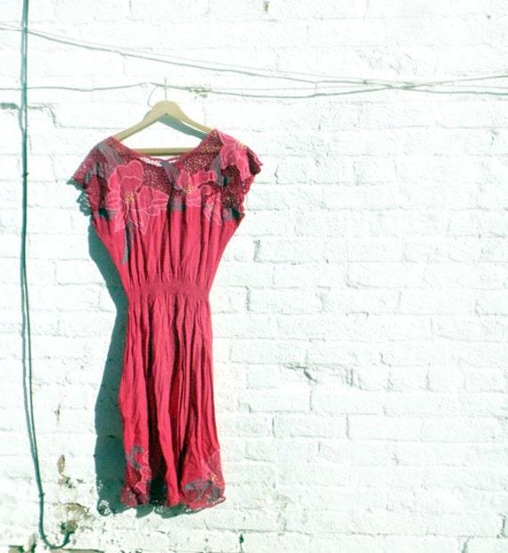 SALE- Vintage Mexican market dress 1980s