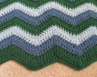 Green and Blue Baby Blanket, Crochet, Chevron
