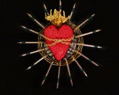 Sacred Heart Found Object Sculpture One of a Kind Love Gift - 31