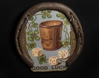 "Man Cave Lucky Horseshoe Vintage Gilt ""Good Luck"" Art Illustration Lucky Charms Pub Game Room"