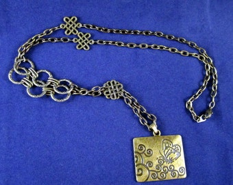 Antiqued Bronze Brass Butterfly Necklace with a Celtic Flaire