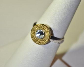 Bullet Ring -Gunpowder and Glitz- Simplistic Bullet Ring -Brass and Diamond