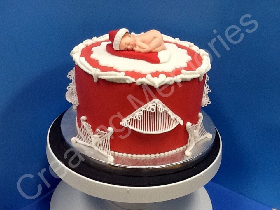 Edible Cake Images Storage : Baby with a Red Santa Hat. Fondant baby cake topper Edible