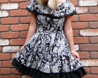 Lovely Black and White Floral Frill Fiesta Dress