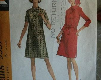Vintage 1968 MOD Era McCall's Dart Fitted Mandarin Collar Front Button Dress 9537 Sewing Pattern Size 18 1/2 Bust 41