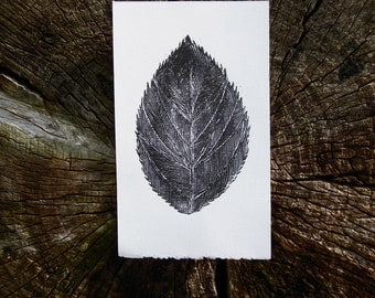 The Exquisite Leaf, Black and White Linocut Print