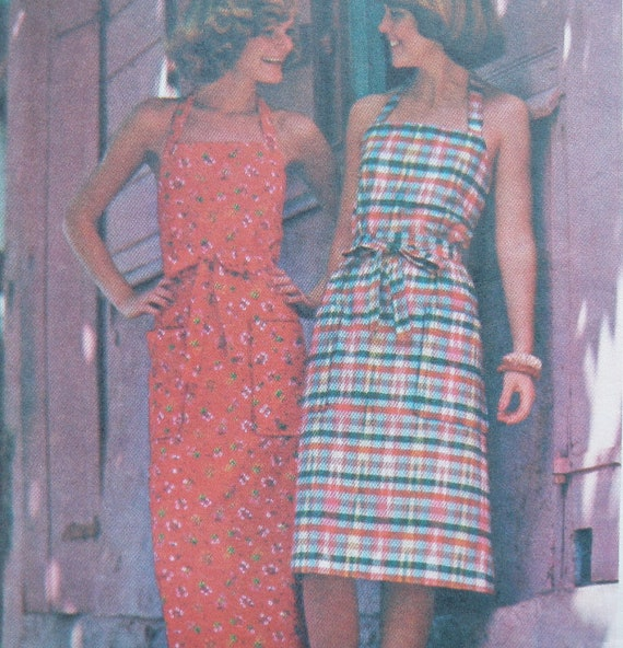 Wrap Around Apron Halter Dress Pattern Butterick 4231 Small