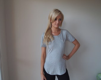 Stretch Cotton Tshirt Grey Tee With Front Pocket