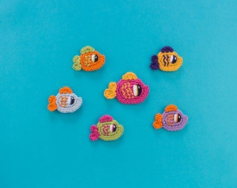 Instant Download - PDF Crochet Pattern - Happy Fishes (2 sizes) Applique - Text instructions and SYMBOL CHART instructions