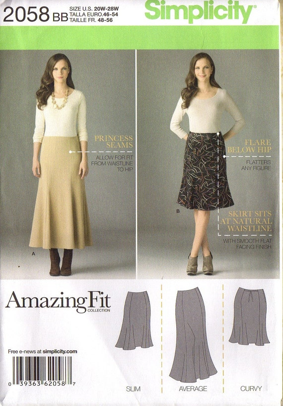 PLUS SIZE SKIRT in Two Lengths - Amazing Fit  -  Slim, Average and Curvy Fit With Customized Fitting Instructions Uncut Factory Folded
