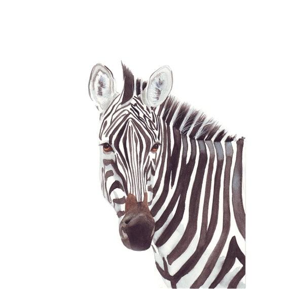 Zebra watercolor Painting - african animal Print of watercolor painting - A4 print