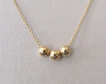Gold Triple Bead Necklace