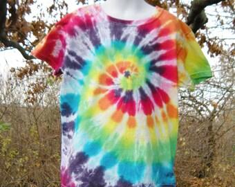Tie Dye Rainbow Spiral T Shirt Child Size