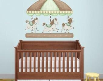 Carousel Wall Sticker Decal as Baby Nursery Wall Decor