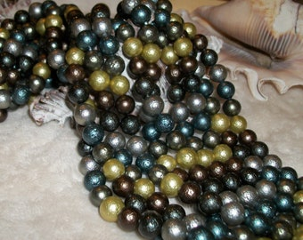 South Sea Shell Pearl-Stardust Multicolor -8 mm round (full strand)- gold, silver, brown, green
