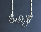 Custom Name Necklace, Children's Personalized Jewelry, Sterling Silver Wire Name Children Necklace