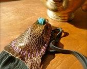 CopperPython Medicine Pouch-Salvaged Metallic Leather OOAK