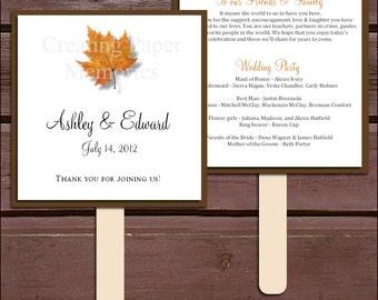 Fall Leaf Program Fans Kit - Printing Included. Wedding ceremony programs