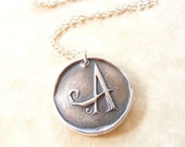 Wax seal monogram initial necklace pendant jewelry made from fine silver, custom made to order