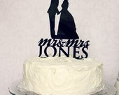 Custom Silhouette Wedding Cake Topper Personalized with YOUR Name and Silhouettes
