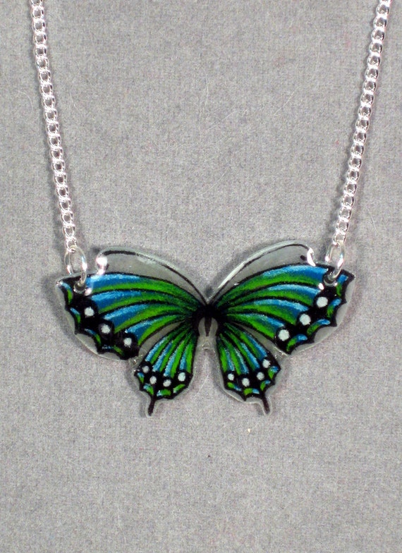 Aqua and Green Butterfly Shrinky Dink Necklace