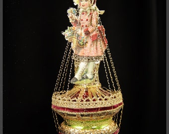 Victorian Christmas Ornament - Christmas Doll || Victorian ornament, handmade, vintage, antique, scrap, wire wrapped