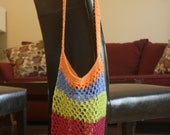 FALL SALE Crochet Market Tote Bag - Bright Pink, Lime, Blue and Orange Striped Market Tote Bag - Ready to ship