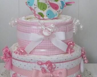 Baby Girl Diaper Cake-2 Tier-Baby's First Birdie-Pastel Polka Dots