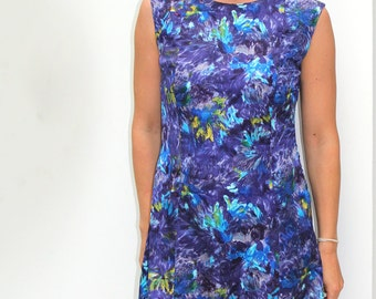 60s purple blue abstract floral sleeveless shift dress S