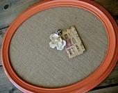 Poppy Orange Oval Burlap Memo Board