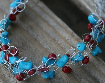 Handmade Sterling Silver Crocheted Necklace with Red Seeds and Turquoise Beads