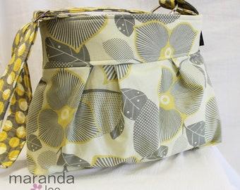 Emma Medium Diaper Bag - Custom Messenger Bag - Pleated in Optic Blossom - Custom Diaper bag with Adjustable  Strap  Elastic Pockets