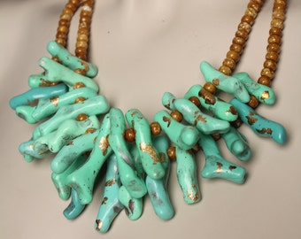 Lucite Green Coral Necklace / Branch Jewelry / Bold Mint Necklace / Handmade One of a Kind